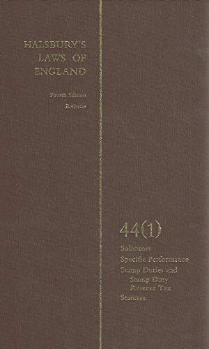Halsbury s Laws of England. Fourth Edition Reissue. Volume 44 (1). Solicitors, Specific Performance...