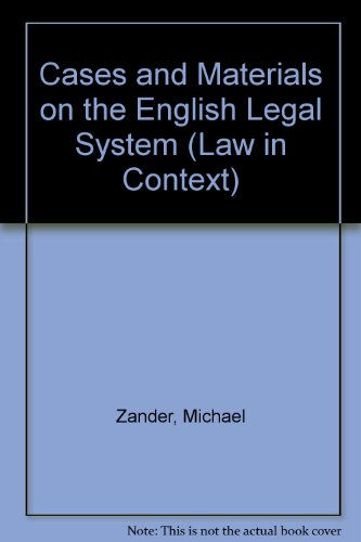 9780406081766: CASES AND MATERIALS ON THE ENGLISH LEGAL SYSTEM. 7th edition