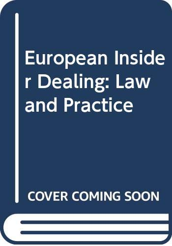 9780406115577: European Insider Dealing: Law and Practice