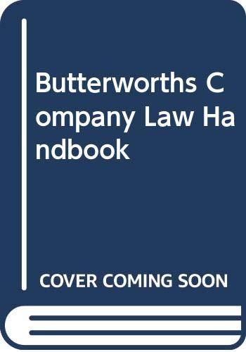 9780406143112: Butterworths Company Law Handbook