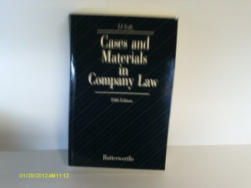 9780406609854: Cases and Materials in Company Law