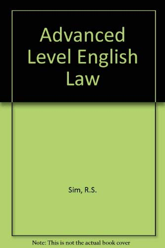 9780406657039: Advanced Level English Law