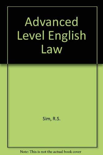 9780406657039: Advanced Level English Law