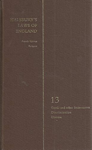 9780406897329: HALSBURYS STATUTES OF ENGLAND: Deeds and other Instruments, Discrimination, Distress.
