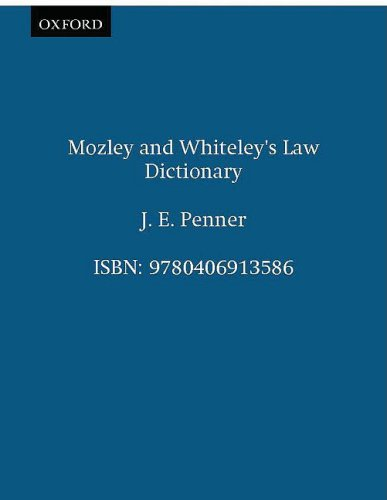9780406913586: Mozley and Whiteley's Law Dictionary