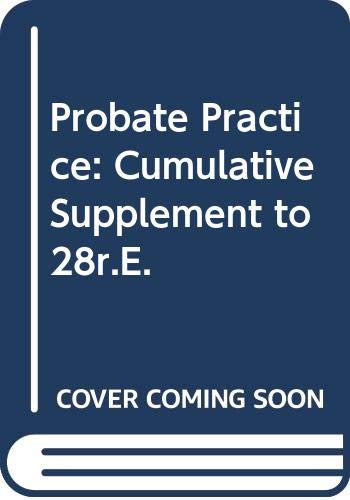 9780406934994: Probate Practice: Cumulative Supplement to 28r.E.