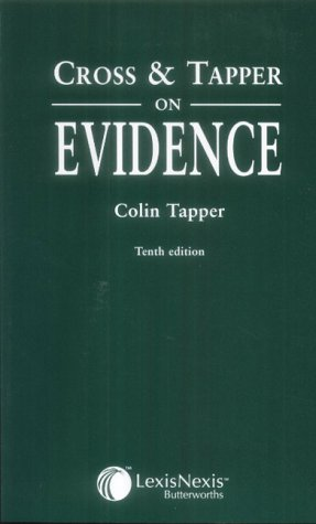 9780406950048: Cross and Tapper on Evidence