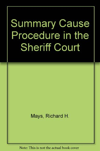 9780406957047: Summary Cause Procedure in the Sheriff Court