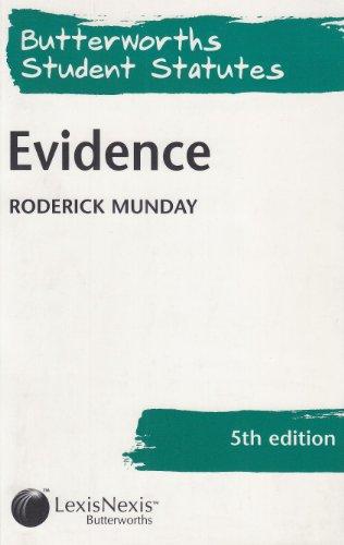 9780406972729: Evidence (Butterworths Student Statutes)