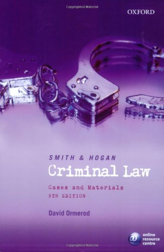 9780406977298: Smith and Hogan Criminal Law: Cases & Materials