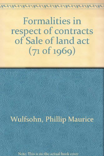 Formalities in respect of Contracts of Sale of Land Act (71 of 1969)