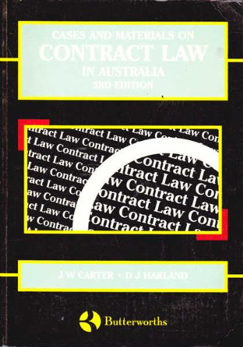 Cases and Materials on Contract Law in: CARTER J. W.