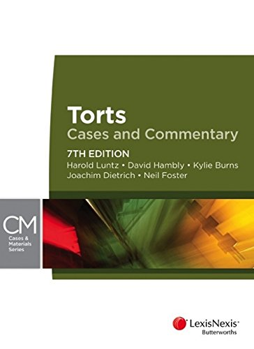 9780409328462: Torts: Cases and Commentary, 7th Edition