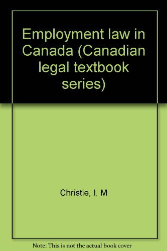 9780409823950: Employment law in Canada (Canadian legal textbook series)