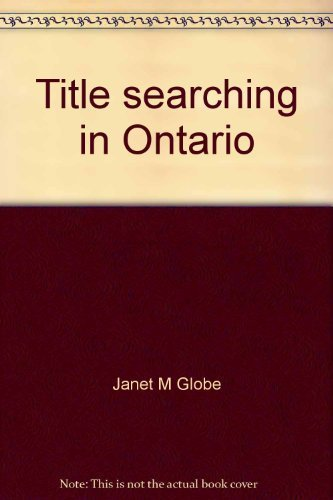9780409834154: Title searching in Ontario: A procedural guide