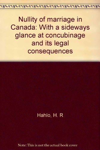 Nullity of marriage in Canada: With a: Hahlo, H. R