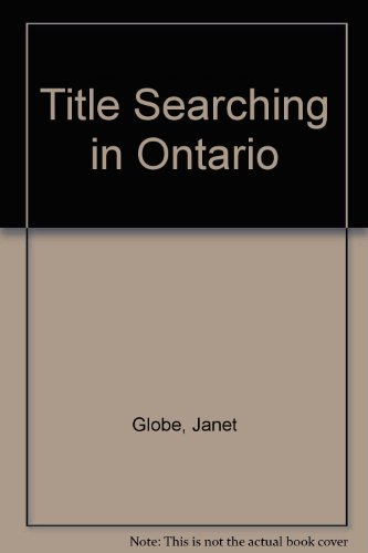 9780409893823: Title Searching in Ontario