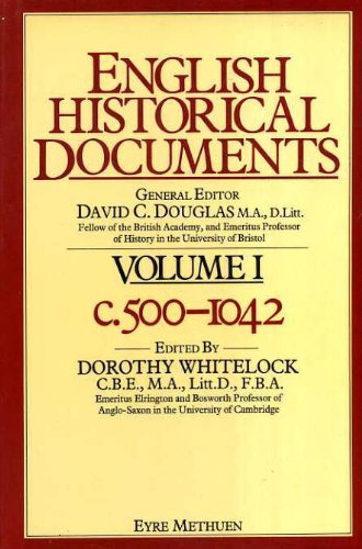 9780413324900: English Historical Documents: 500-1042 v. 1