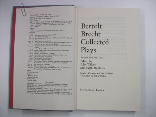 9780413397805: Brecht Collected Plays: Mother Courage and Her Children : Part 2