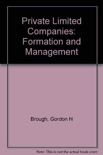 9780414009349: Private Limited Companies: Formation and Management