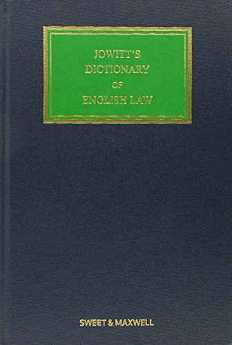 Jowitt's Dictionary of English Law (Hardcover): Daniel Greenberg