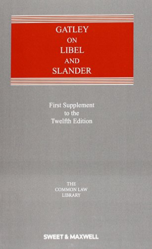 9780414052628: Gatley on Libel and Slander: First Supplement to the Twelfth Edition