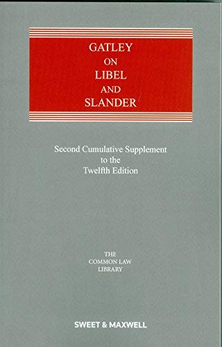 9780414066472: Gatley on Libel and Slander 2nd Supplement