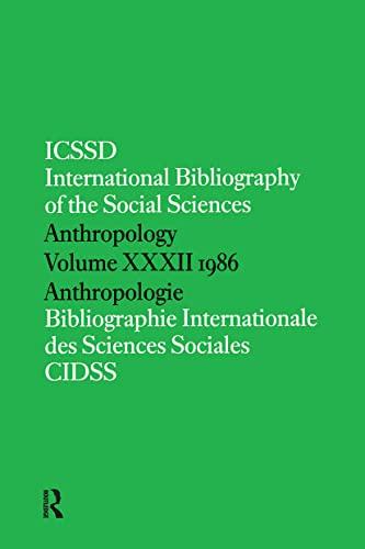 IBSS: Anthropology 1986: Volume 32 (Hardback): International Committee for Social Science ...