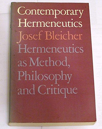 9780415051163: Contemporary Hermeneutics: Hermeneutics as Method, Philosophy and Critique