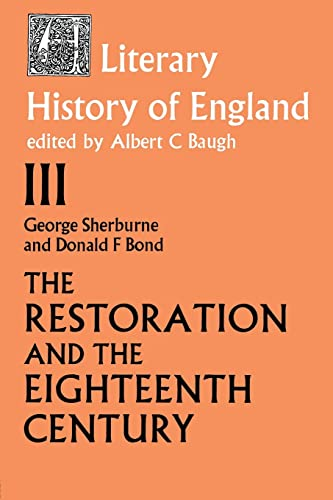 9780415104548: The Literary History of England: Vol 3: The Restoration and Eighteenth Century (1660-1789)