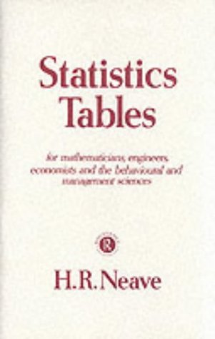 9780415104852: Statistics Tables: For Mathematicians, Engineers, Economists and the Behavioural and Management Sciences