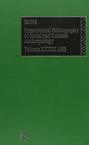 BLPES: Anthropology: 1993 Vol 39 (Ibss: Anthropology (International Bibliography of Social and ...