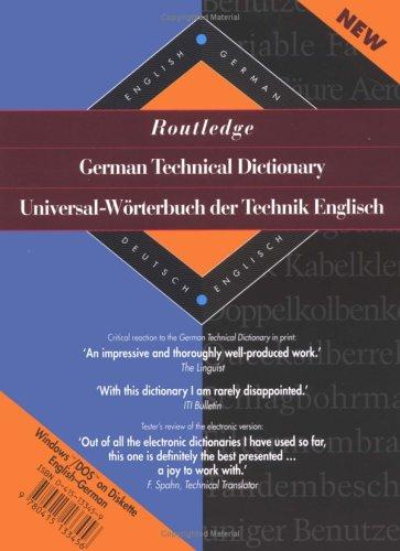 9780415133456: Routledge German Technical Dictionary Universal-Worterbuch der Technik Englisch: Volume 2: English-German Diskette (Routledge Bilingual Specialist Dictionaries)