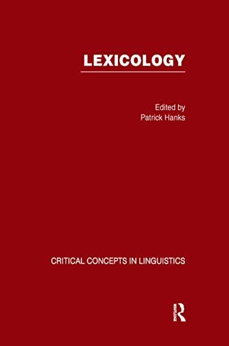 9780415701006: LEXICOLOGY:CRIT CON LINGUIS VO