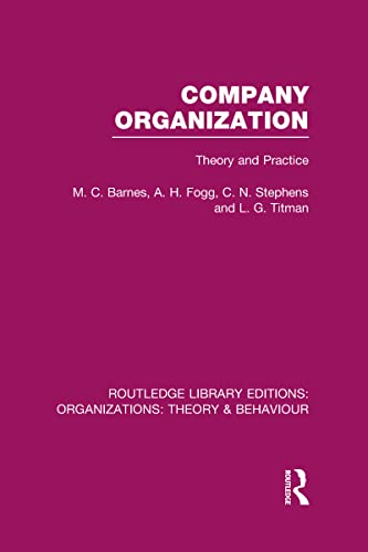 Routledge Library Editions: Organizations: Company Organization (RLE: M . C.