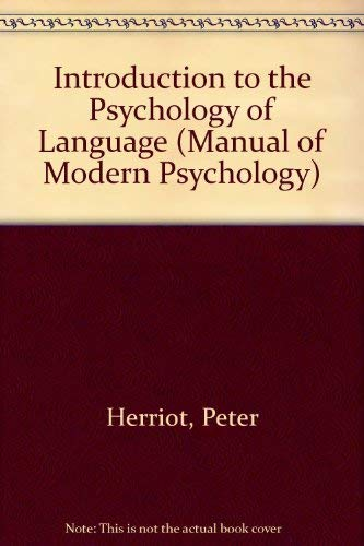 9780416116809: An introduction to the psychology of language (Methuen's manuals of modern psychology)