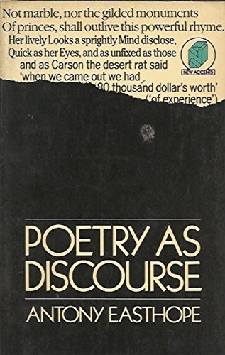 9780416327205: Poetry as Discourse (New Accents)