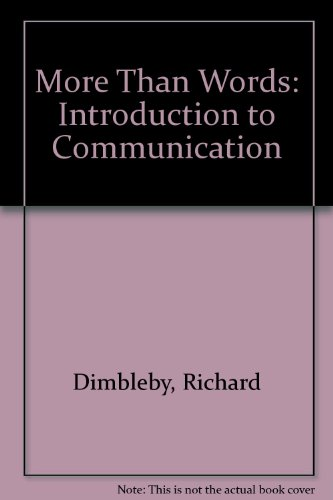 9780416380606: More Than Words: Introduction to Communication