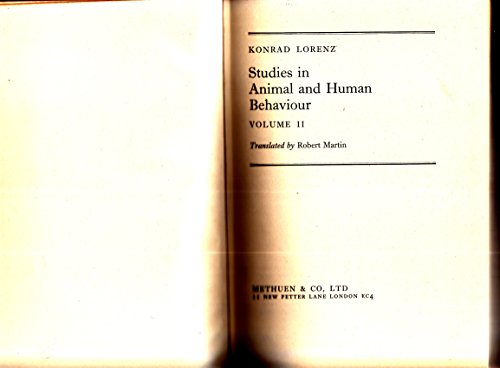 9780416418200: STUDIES IN ANIMAL AND HUMAN BEHAVIOUR; VOL II