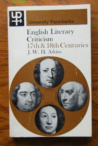 9780416694505: English Literary Criticism: 17th and 18th Centuries.