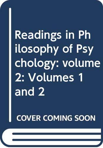 9780416742008: Readings In Philosophy Of Psychology (Volume 1)