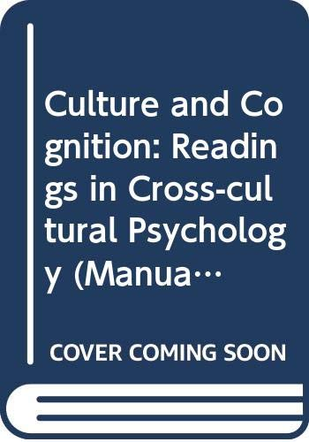 9780416751703: Culture and Cognition: Readings in Cross-cultural Psychology (Manual of Modern Psychology)