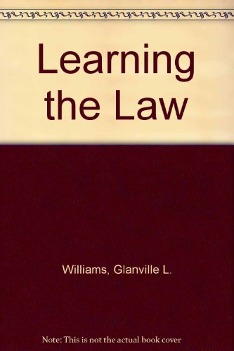 9780420426109: Learning the Law