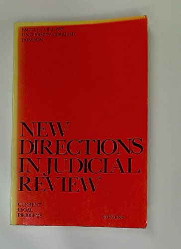 9780420478009: New Directions in Judicial Review: Current Legal Problems