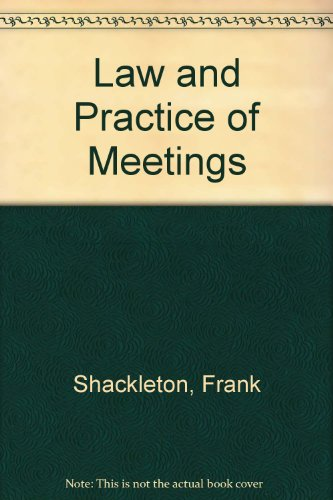 9780421208704: Law and Practice of Meetings