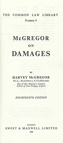 9780421229303: McGregor on damages (Common law library)