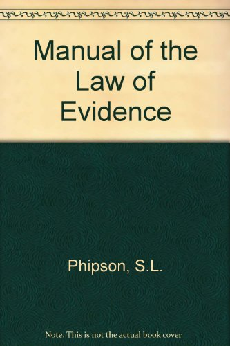 9780421237407: Manual of the Law of Evidence