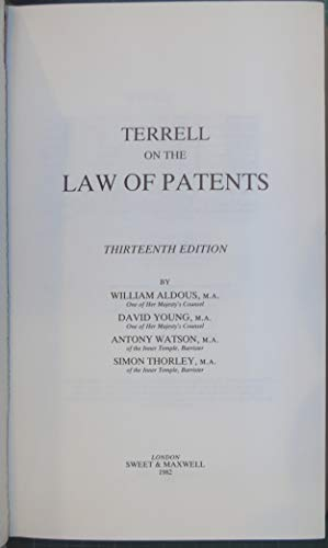 9780421249004: Terrell on the Law of Patents