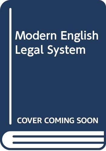 9780421271807: Modern English Legal System