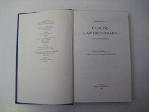 9780421296701: Osborn's Concise Law Dictionary